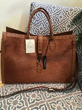 Claudia Firenze Cognac Brown Embossed Leather Croc And Cowhide Made In Italy