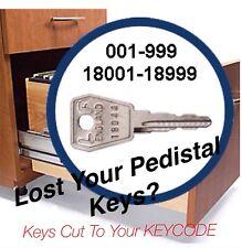 Office Furniture, Pedistal keys cut to code 18001-18999
