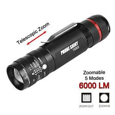 6000Lm CREE T6 AAA/18650 5 Modes Zoom LED Ultra Bright Flashlight Torch Light FT