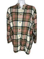 Vintage L.L.Bean Womens Plaid Mock Neck Button Down Long Sleeve Shirt Large