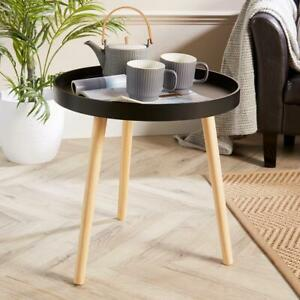Black Round Coffee Accent Side Table Modern Living Room Furniture Lipped Edge