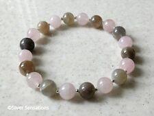 Elegant Pink Rose Quartz, Natural Moonstone & Sterling Silver Stretch Bracelet