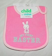 New  Baby Girl Carters My First Easter Bib Bunny Pink Waterproof