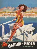 TRAVEL TOURISM MARINA DI MASSA ITALY BEACH SEA POSTER ART PRINT 30X40 CM BB2857B