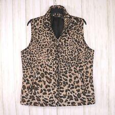 Jane Ashley Tan Black Animal Print Puffer Vest Size Large Womens Full Zip