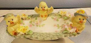 Vintage Ceramic Bisque Baby Chickens Chicks Floral Soap Trinket Dish
