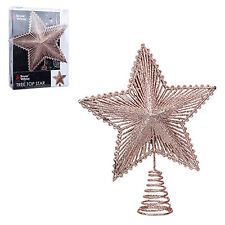 Christmas Tree Top Star 200mm Full Glitter Decoration - Rose Gold