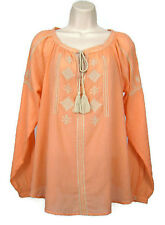 Ann Taylor Loft Tunic Blouse Size XS Peach Embroidered Tie Scoop Long Sleeve
