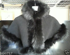 BLACK KIDS GIRLS FLUFFY FAUX FUR HOODED WINTER CAPE COAT PONCHO SZ S 2-4 YRS NEW