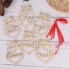 6Pc Christmas Tree Decor For Home Wooden Hollow Ornament Hanging Pendant Dec TYJ