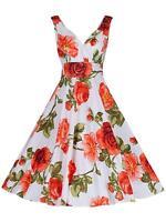 STUNNING CORAL ROSE PRINT 1950 RETRO VINTAGE FULL CIRCLE COTTON TEA DRESS NEW 16