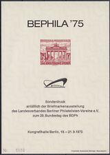 Berlin Sonderdruck Block 7 a BEPHILA 1975 ohne Nr. (1-34)