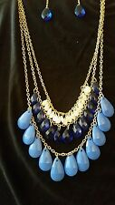 Avon New Glimmer Drops Necklace & Earrings Gift Set gold-tone Blue