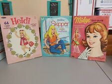 3 Paper Dolls 1973 Malibu Skipper Uncut, 1966 Heidi & 1963 Midge Cut Outs, Used