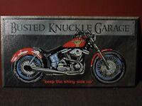 """BUSTED KNUCKLE GARAGE"" METAL SIGN / MOTORCYCLE / GARAGE / MAN CAVE DECOR"