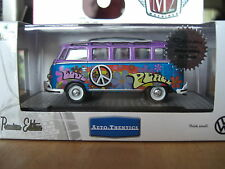 M2 1960 VW Hippie bus Deluxe 21 Window US Model Hobby Chase1/64 Diecast Purple