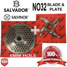 Salvador No32, 6mm Mincer Grinding Plate and Mincer blade Knife. 100% Genuine.