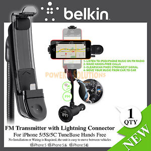 Belkin TuneBase Handsfree FM Transmitter Lightning Connector for iPhone 5 5s SE