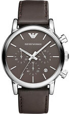 NEW EMPORIO ARMANI AR1734 MENS BROWN CHRONOGRAPH WATCH - 2 YEARS WARRANTY