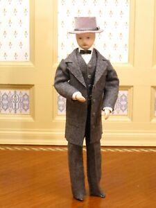 Porcelain Victorian Gentleman Doll with Top Hat - Artisan Dollhouse Miniature
