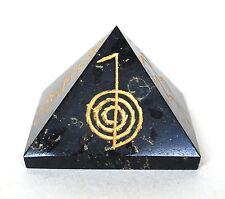 Reiki Energía cargado grandes Turmalina Negra Grabada Pirámide De Cristal Protectora