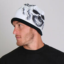3D Sublimation Black White Skull Ghost Skull Biker Stocking Cap Beanie Knit