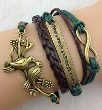 Infinity Double bird Anchor Leather Cute Charm Bracelet Bronze 468