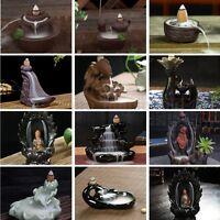 Porcelain Backflow Ceramic Glaze Incense Smoke Cone Burner Holder Tibet Buddhist