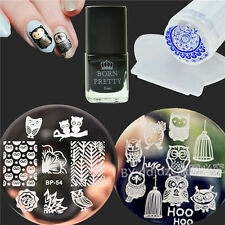 5Pcs/Set Owls Nail Art Stamp Plates Black Stamping Polish W/Stamper Scraper DIY