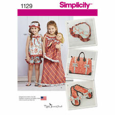 """Simplicity Sewing Pattern 1129 Girls Children's 3-8 Doll 18"""" Clothes Accessories"""