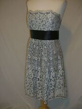 BCBG Maxazria Silver Black Lace Strapless Party Formal Dress - 4 - NWT $360