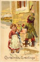 Vintage CHRISTMAS Nostalgia Embossed Publisher PFB #6487 postcard A22