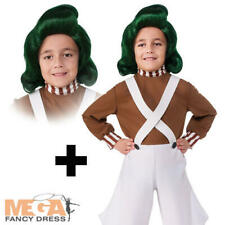 Oompa Loompa + Wig Kids World Book Day Willy Wonka Boys Girl Fancy Dress Costume