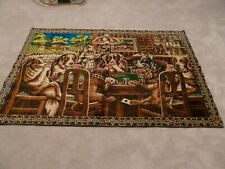 """Vintage Dogs Playing Poker Cloth Tapestry Rug Wall Hanging 47"""" X 70"""""""