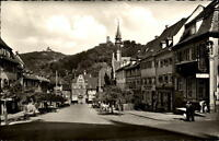 Weinheim an der Bergstraße Postkarte 1959 gelaufen Partie am Marktplatz Autos