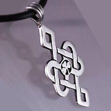 Tibetan Irish 3 leaf Clover Leprechaun Norse Celtic Knot Shamrock Pewter Pendant