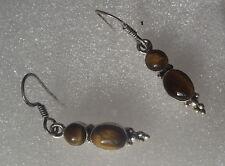 Boucles d'oreille argent  925 , oeil du tigre  , silver ear rings ,