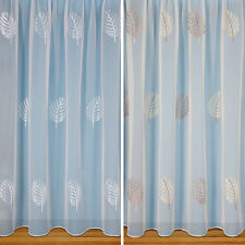 Julianne Embroidered Leaf Voile Curtain - Price Per Metre -Top Quality - Not Net