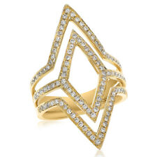 Space Wide Right Hand Cocktail Ring 14K Yellow Gold Pave Diamond Negative