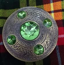 "Celtic Kilt Fly Plaid Brooch Irish Green Stone Antique Finish 4"" Pin Brooches"