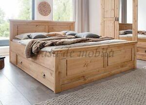 Massivholz Schubladen-bett 180x200cm Kiefer massiv gelaugt geölt Doppelbett holz