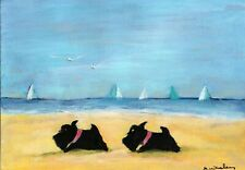 Original Scottish Terrier Dogs on a Beach Art Acrylic Painting 7x5 Inches