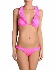 NWT JE M'EN FOUS bikini swimsuit 44 M 10 Italy hot pink ruffled high-end runway