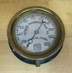 CHICAGO PNEUMATIC TOOL Co FRANKLIN PENNA Antique Industrial Gauge 1890s Ashcroft