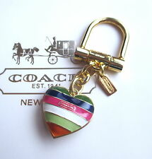 Coach Legacy Stripe Heart Key Fob Keychain Charm RARE