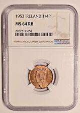 1953 MS64 RB Ireland Farthing 1/4P UNC Eire KM 9 NGC