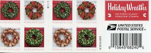 USA Christmas Stamps 2019 MNH Seasonal Holiday Wreaths 20v S/A Booklet