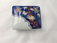Vista Alegre Isnik Trinket Box Porcelain Blue Orange White Floral Portugal