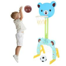 3 In 1 Adjustable 3~5.5Ft Basketball Hoop Stand With Basketball/Ring Toss/Soccer