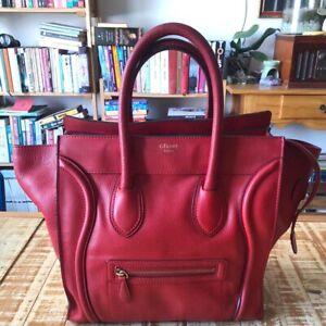 CELINE Mini Luggage Red Leather Handbag